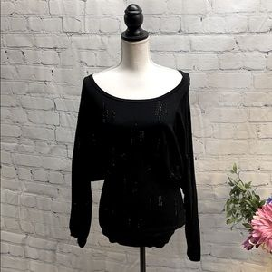 Venini Black Beaded Pullover Sweater-Small